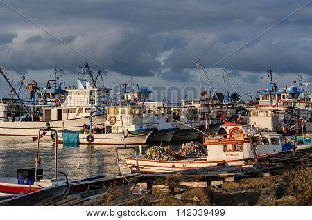 SAMSUN, TURKEY- 16 SEPTEMBER 2015 : Fishing boats at Derekoy fishing harbour, Black Sea Region, Samsun, Turkey