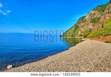 Small Pebbles On Shore Of Lake Baikal