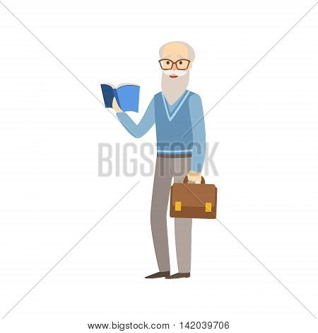 Old Professor With Book And Suitcase Bright Color Cartoon Simple Style Flat Vector Sticker Isolated On White Background