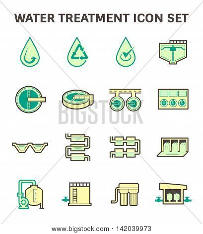 Water treatment vector icon sets, flat and color design.