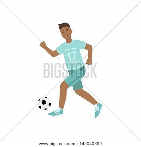 Guy In Blue Uniform Playing Football Illustration Isolated On White Background. Simplified Cartoon Character Flat Vector Icon