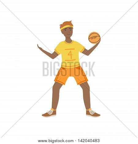 Man In Yellow Uniform Playing Basketball Illustration Isolated On White Background. Simplified Cartoon Character Flat Vector Icon