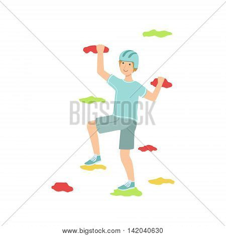 Man Doing Climbing On Indoors Wall Illustration Isolated On White Background. Simplified Cartoon Character Flat Vector Icon