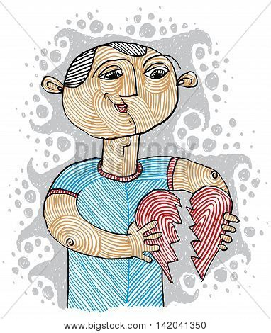 Conceptual Drawing Of A Loving Man Trying To Stick Together The Heart. Fix Relationship Symbolic Ill