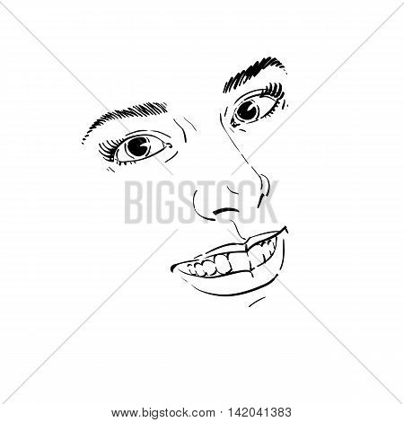 Facial expression hand-drawn illustration of face of a girl with positive emotional expressions.