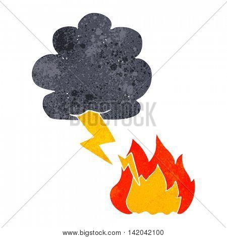 freehand retro cartoon thundercloud lightning strike