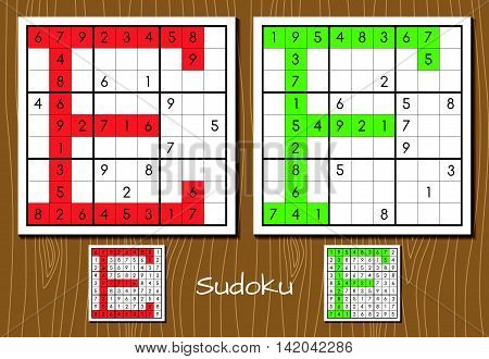 Sudoku vector set with answers. E, F letters
