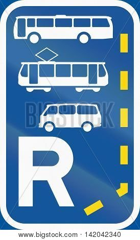 Road Sign Used In The African Country Of Botswana - Start Of A Reserved Lane For Buses, Trams And Mi