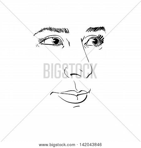 Vector art drawing portrait of gorgeous dreamy girl isolated on white.