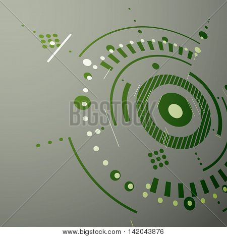 Three-dimensional mechanical scheme green vector engineering drawing with circles and geometric parts of mechanism.
