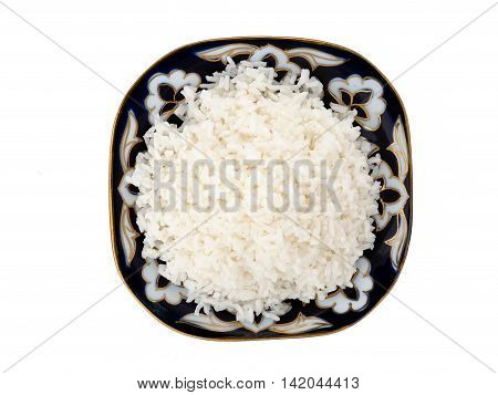 Beautiful dish with boiled rice on a white background. View from above
