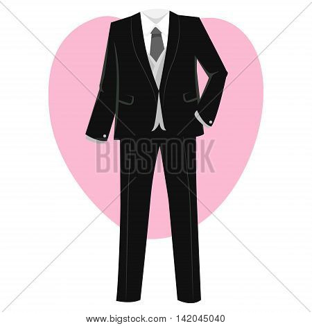 Vector Illustration of Formal Groom Black Suit