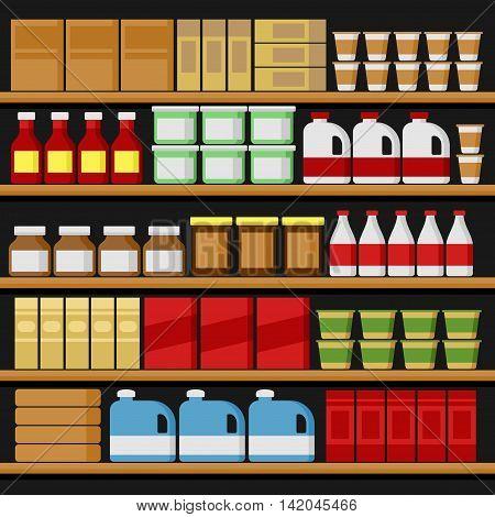Supermarket. Shelfs Shelves with Products. Vector illustration