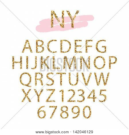 Golden confetti glittering Alphabet for blog logo headline design. Capital letters and numbers.