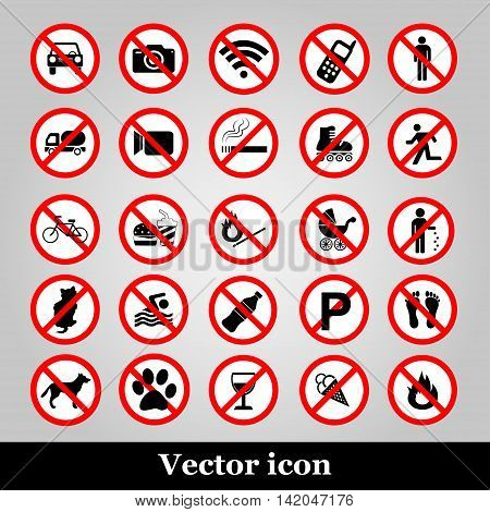 Set ban icons Prohibited symbols red circle signs on grey background