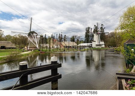 Traditional Dutch windmill in the countryside in Netherlands