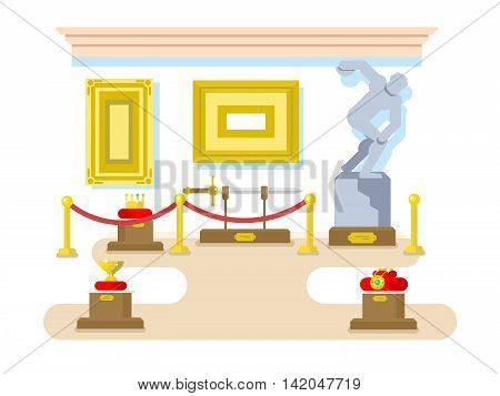 Museum flat design. Exhibition sculpture artifact sword picture crown, vector illustration