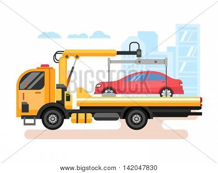 Car evacuator. Transport tow, service transportation, trouble on road. Flat vector illustration
