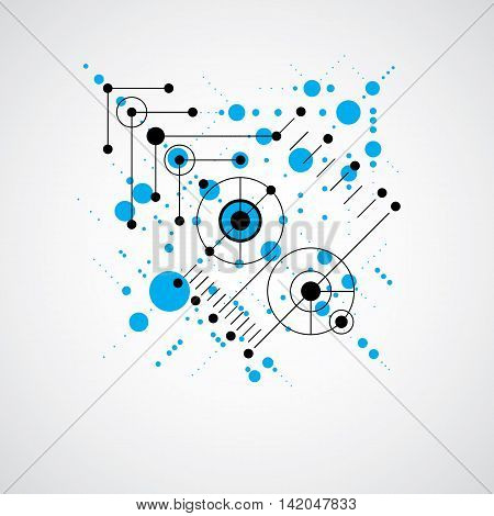 Vector blue abstract background created in Bauhaus retro style.