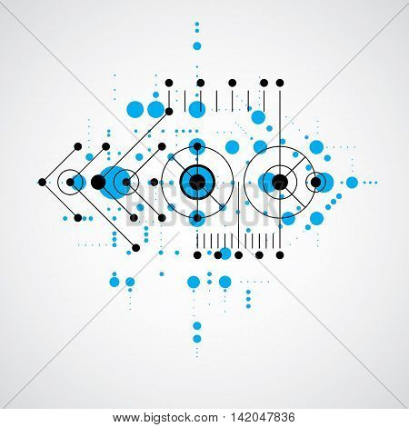 Vector Bauhaus blue abstract background made with grid and overlapping simple geometric elements circles and lines.