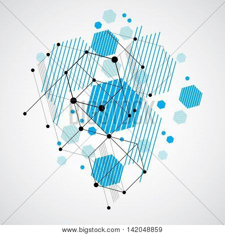 Vector Bauhaus abstract background made with grid and overlapping simple geometric elements circles and striped honeycombs.