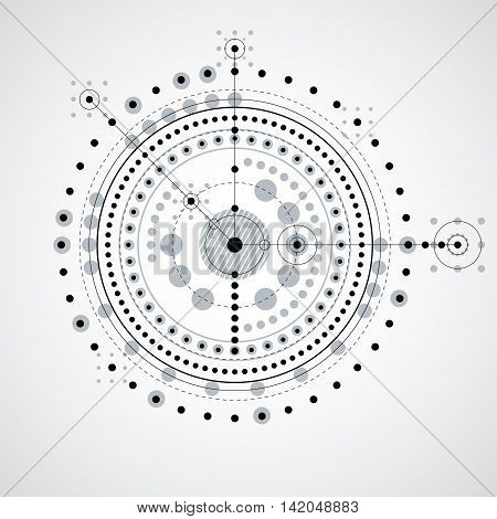 Monochrome geometric technology vector drawing technical background.