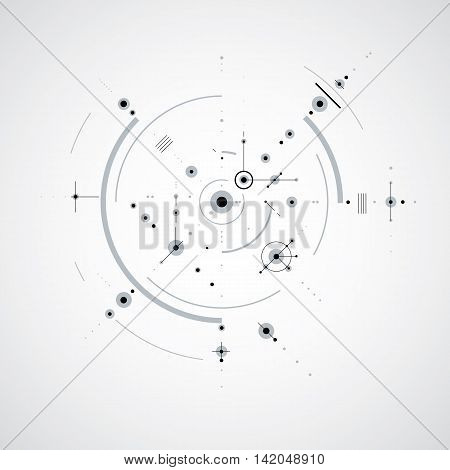 Vector Bauhaus abstract black and white background made with grid and overlapping simple geometric elements circles.