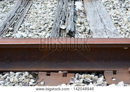 Railroad ties falling apart under railroad lines