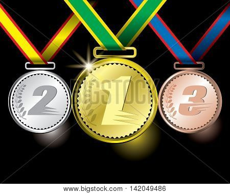 Awards As Medals - Gold, Silver And Bronze Concept Vector