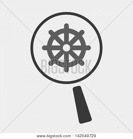 Isolated Magnifier Icon With A Dharma Chakra Sign