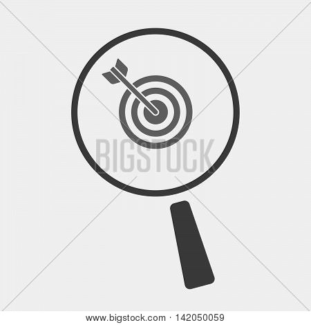 Isolated Magnifier Icon With A Dart Board