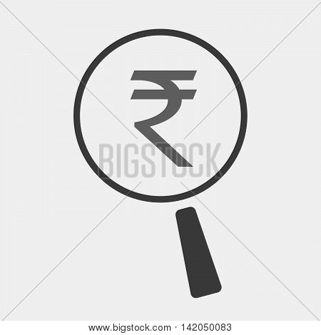 Isolated Magnifier Icon With A Rupee Sign