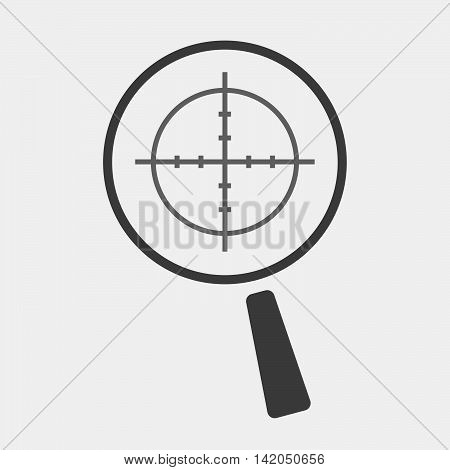 Isolated Magnifier Icon With A Crosshair