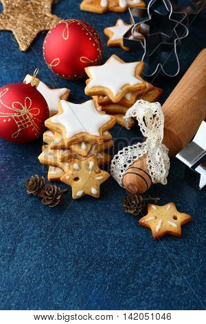 Christmas Cookies With Ginger, Balls, Cutters And Rolling Pin
