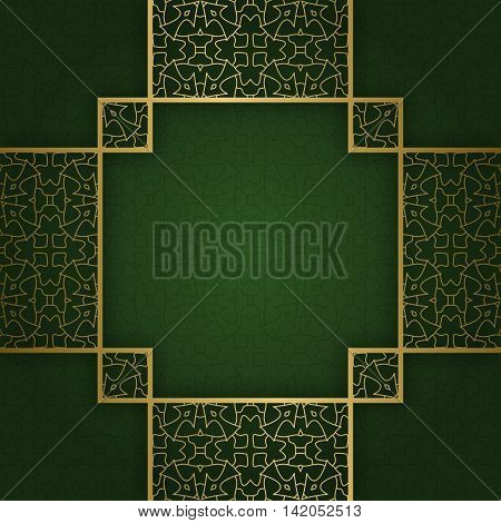 Traditional ornamental background with square crosswise frame