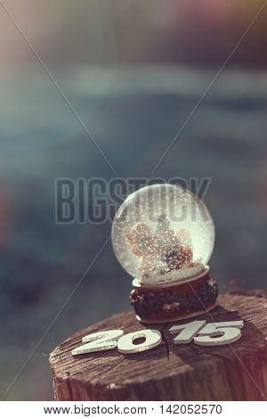 Snow globe with flakes, Christmas tree and a boy and a girl decorating it, placed on a wooden fence with cardboard numbers 2015 on it