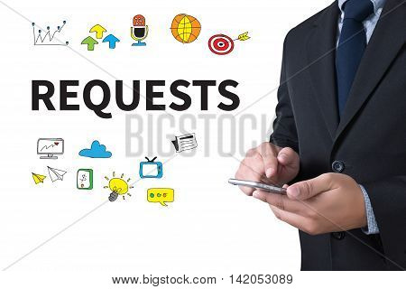 REQUESTS businessman working use smartphone business man work
