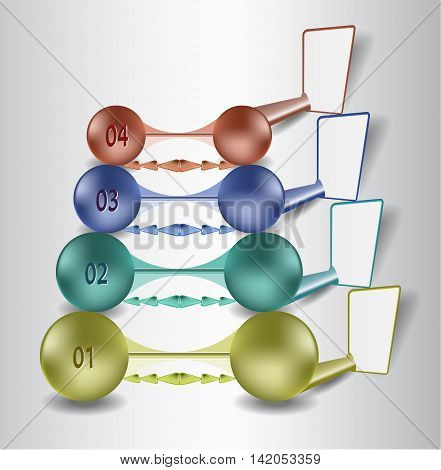 Infographics step by step template with 3d metal balls and paper banners. Simple infographics template with blank labels and colorful balls with numbers for webdesign