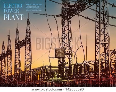 Abstract sketch stylized background. Electric power station