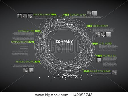 Vector Infographic abstract timeline report template with the biggest milestones, photos, years and description - dark time line version