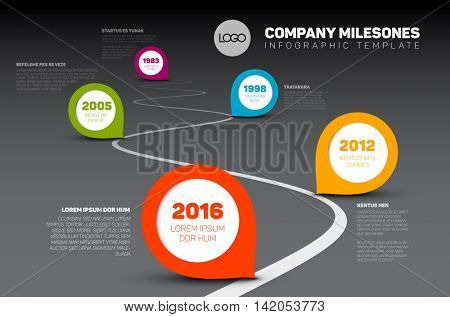 Vector Infographic Company Milestones Timeline Template with pointers on a curved road line - dark time line version