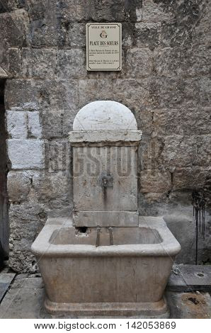 Grasse France - april 17 2016 : foutain in the city center
