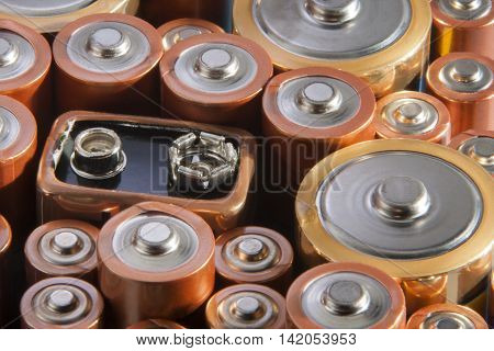 Used alkaline single use batteries ready for recycling