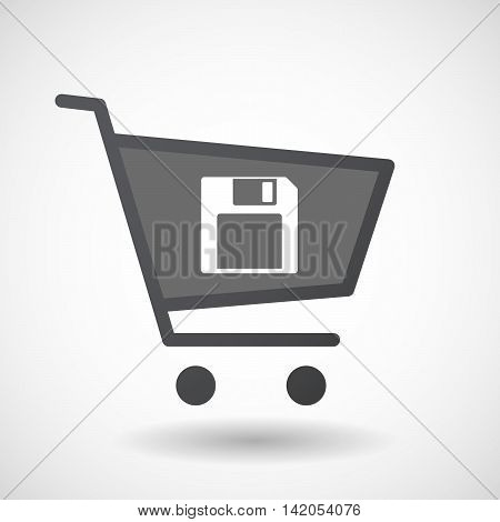 Isolated Shopping Cart Icon With A Floppy Disk