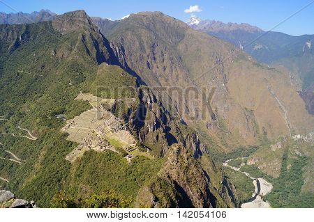 the ruins of the lost city at Machu Picchu Peru. View from Huaina Picchu