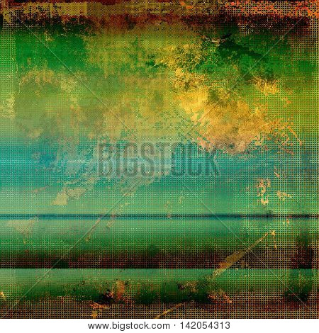 Old style design, textured grunge background with different color patterns: yellow (beige); brown; green; blue; red (orange); cyan