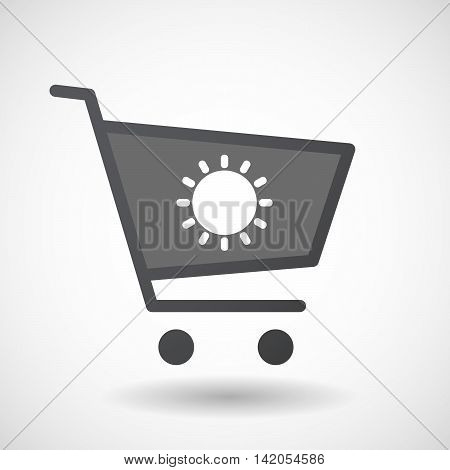 Isolated Shopping Cart Icon With A Sun
