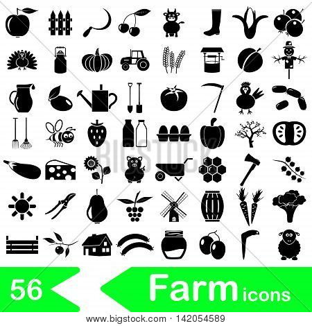 Farm And Farming Big Simple Icons Set Vector Eps10