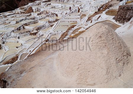 Salt evaporation pond at Maras near Cuzco, Perú