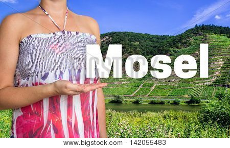 Mosel concept presented by woman background picture